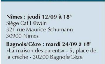 CAF DU GARD: RÉUNION INFORMATION PARENTS ISOLÉS